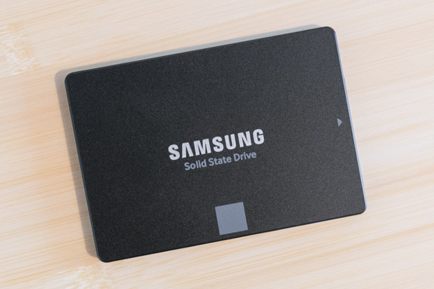 Our pick SSD resting on a wooden surface.