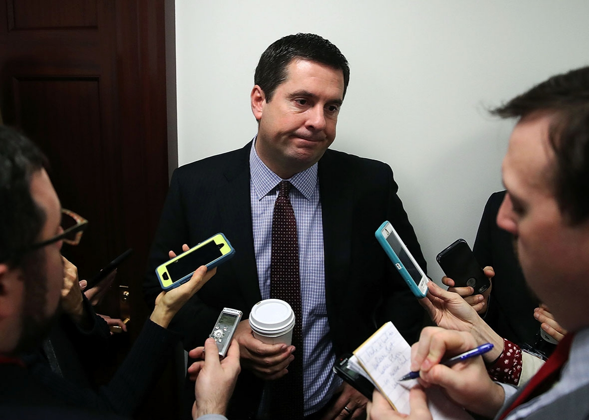 Rep. Devin Nunes, Chairman of the House Permanent Select Committee on Intelligence speaks to reporters after attending the GOP weekly meeting at the U.S. Capitol on February 14, 2017 in Washington, DC.