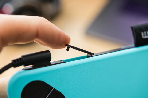 A closeup of the Wacom Intuos Draw tablet's optional wireless receiver port.