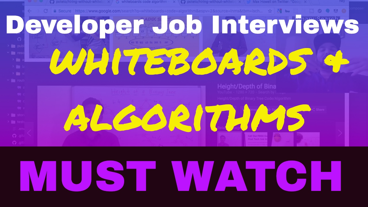 Developer Job Interviews with whiteboards and algorithms...