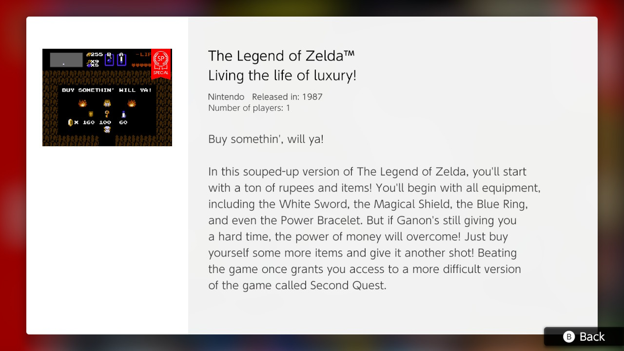 Nintendo's 'souped-up' NES Zelda loads you with gear for an easie...