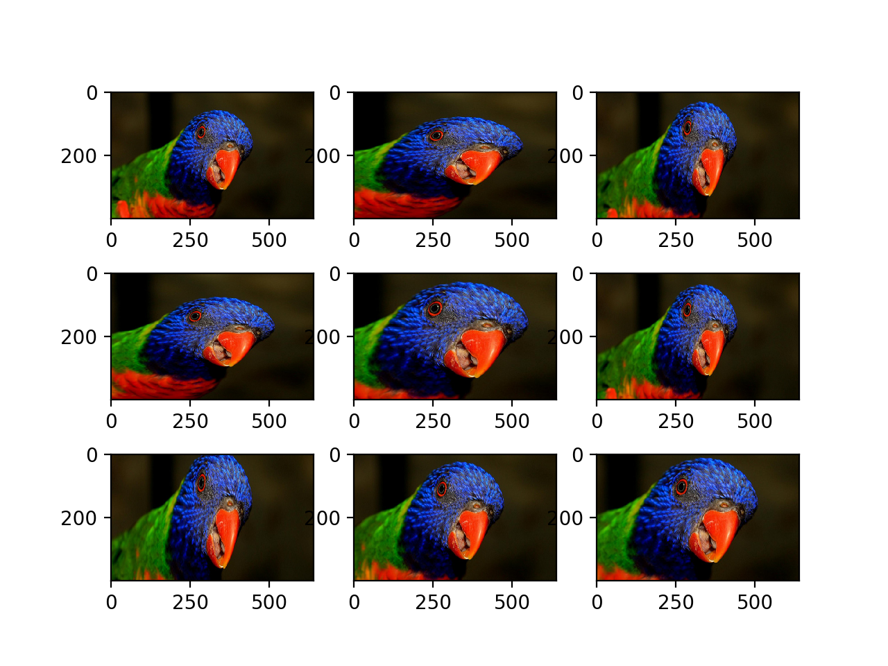 Plot of Images Generated With a Random Zoom Augmentation