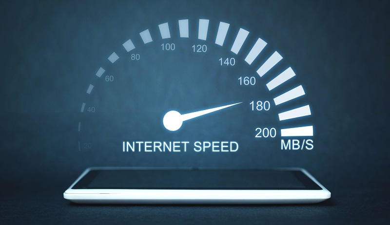 Internet speed measurement. Internet and technology concept