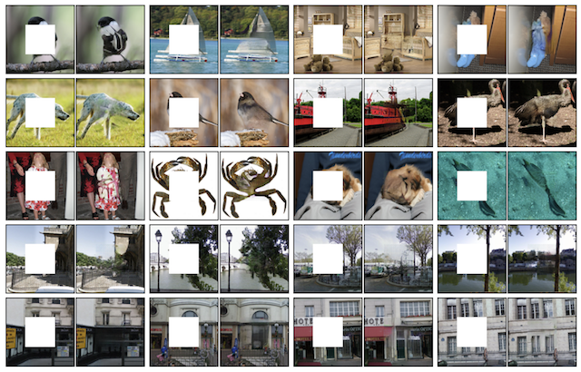 Example of GAN Generated Photograph Inpainting using Context Encoders