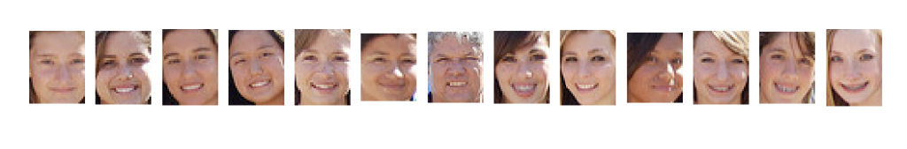 Plot of Each Separate Face Detected in a Photograph of a Swim Team