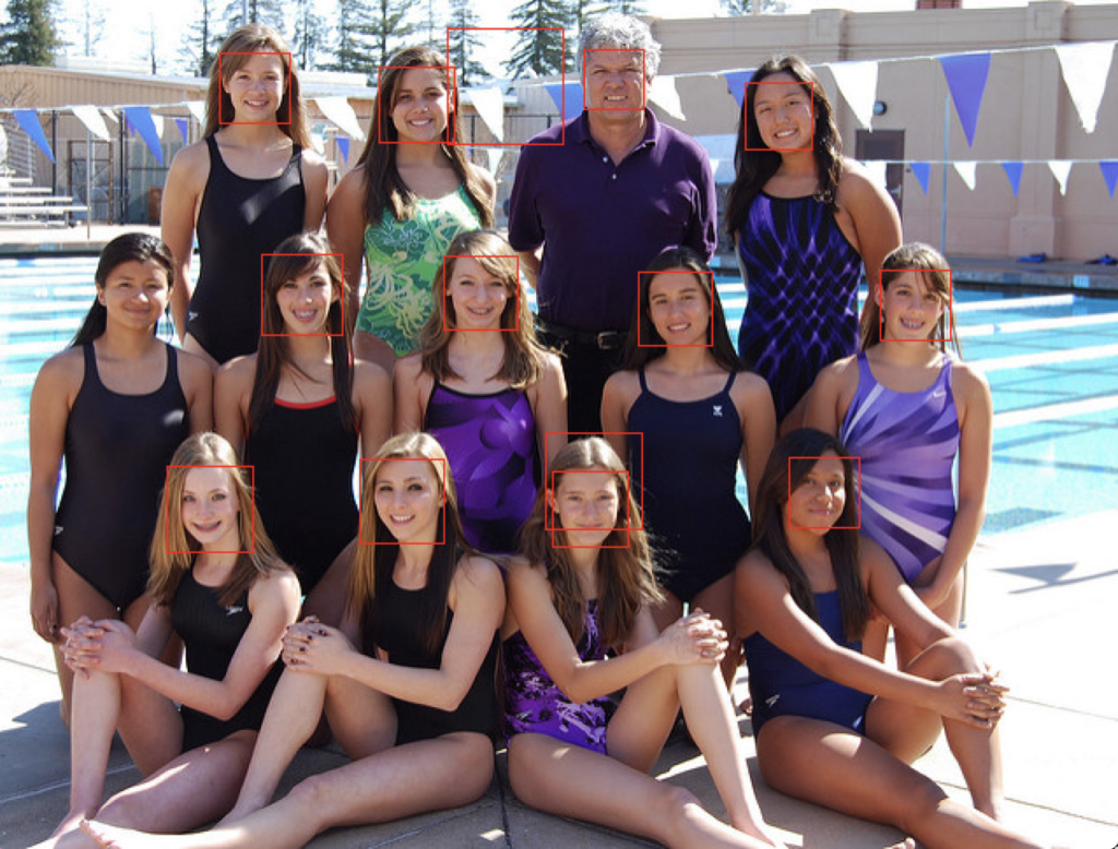 Swim Team Photograph With Faces Detected using OpenCV Cascade Classifier