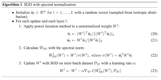 Algorithm for SGD with Spectral Normalization