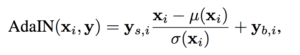 Calculation of the adaptive instance normalization (AdaIN) in the StyleGAN
