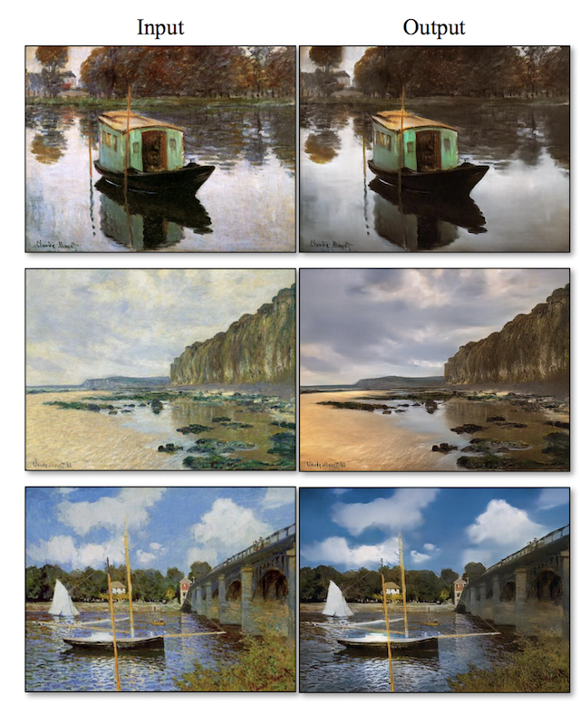 Example of Translation Paintings by Monet to Photorealistic Scenes