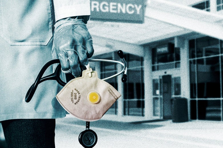 A doctor carries a mask and a stethoscope outside a hospital.