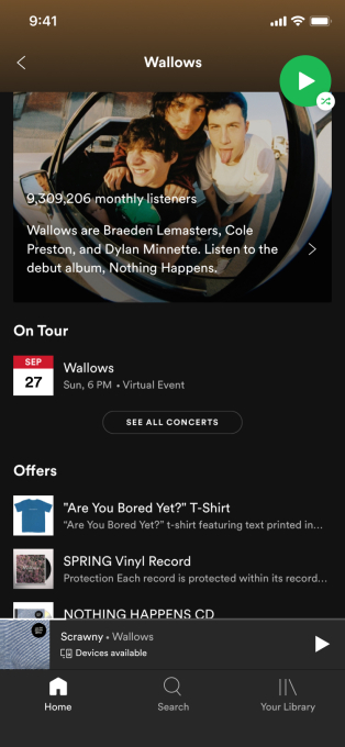 Spotify adds virtual event listings to its app...
