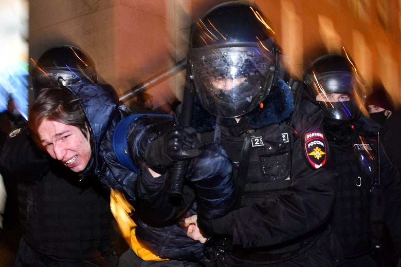 Russia Detains Thousands at Protests Against Jailing of Kremlin C...