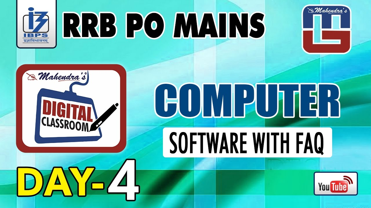 SOFTWARE WITH FAQ | DAY - 4 | #Rrb_PO_MAINS | COMPUTER | #digital...